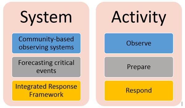Diagram showing the relationship between observation, preparation, and response activities