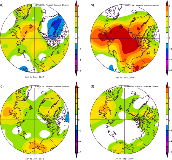 Seasonal anomaly patterns for near surface air temperatures