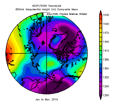 Geopotential height from January-March 2016