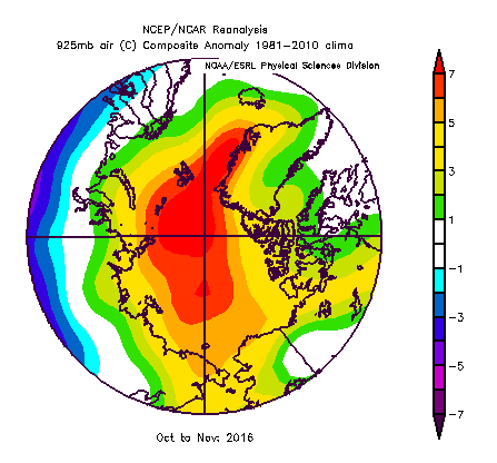 Lower atmospheric air temperature anomalies