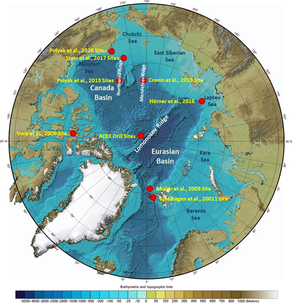 International Bathymetric Chart of the Arctic Ocean indicating the core locations of the studies included in this synthesis