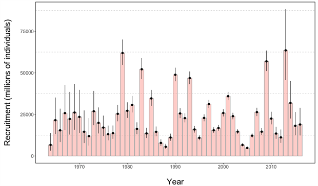 Recruitment estimates (the number of age-1s) for Eastern Bering Sea pollock