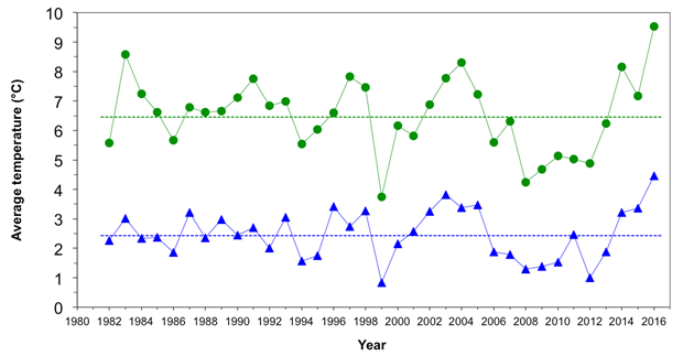 Average summer surface and bottom water temperatures of the eastern Bering Sea shelf