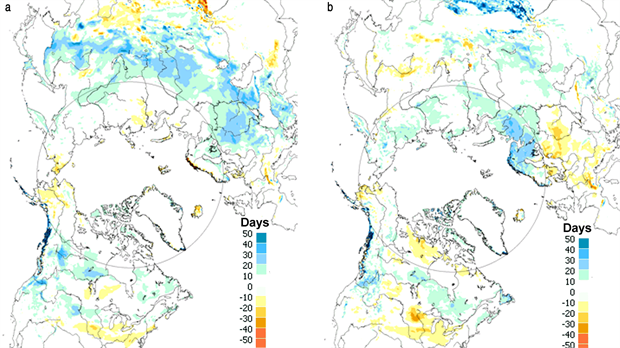 Snow cover duration (SCD in days) departures