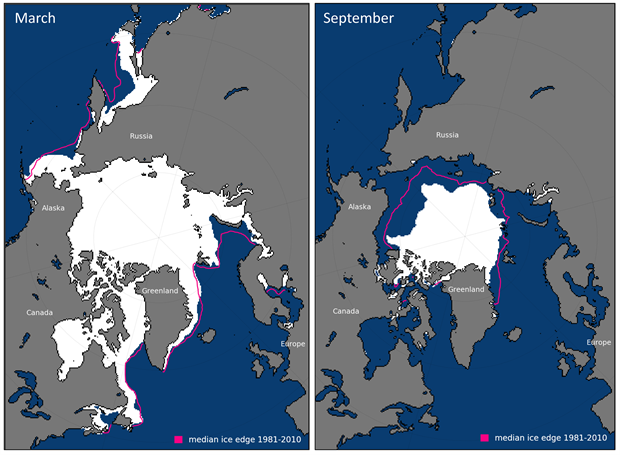 Average monthly sea ice extent