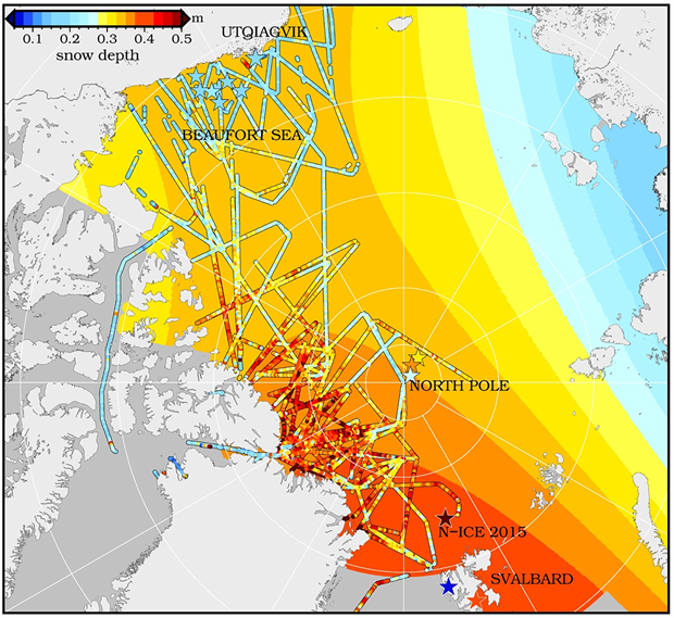 Snow depth on Arctic sea ice at the end of winter, prior to melt onset