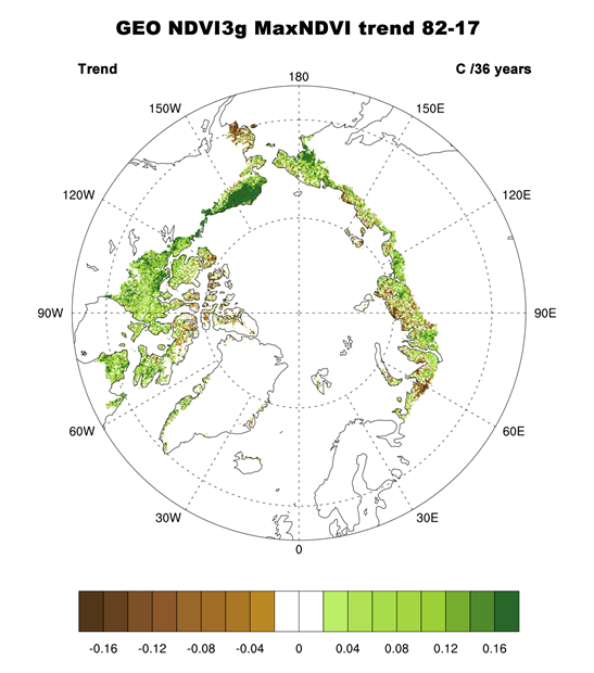 Map of Magnitude of the overall trend in MaxNDVI