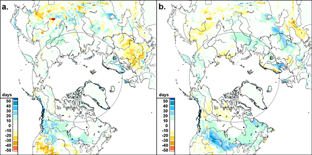 Maps of snow cover duration anomalies