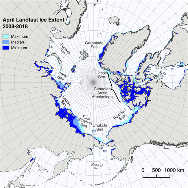 Graphics of minimum, median and maximum Arctic landfast ice extent