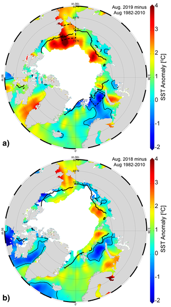 Maps of SST anomalies