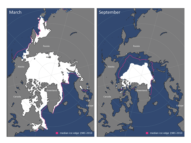 Maps of average monthly sea ice extent in March and September