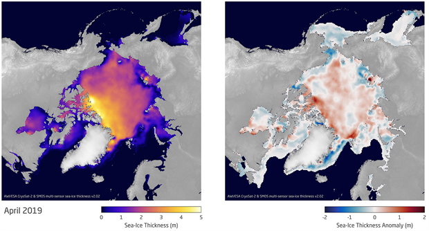 Maps of sea ice thickness