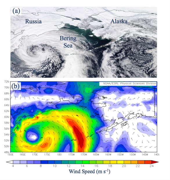 Satellite view of a strong cyclone in the Bering Sea