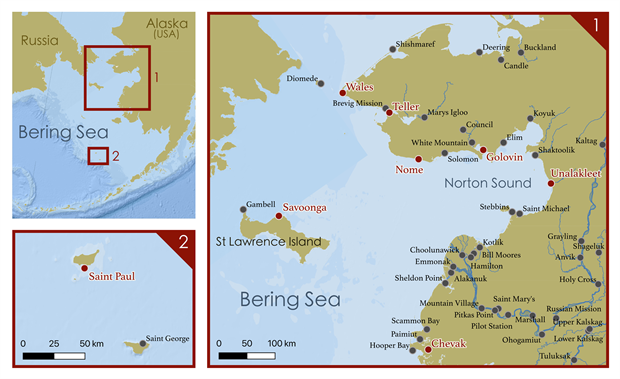 Map of Alaska communities throughout the Bering Sea region