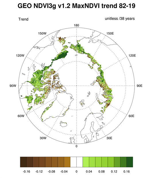 Map of the magnitude of the overall trend in MaxNDVI