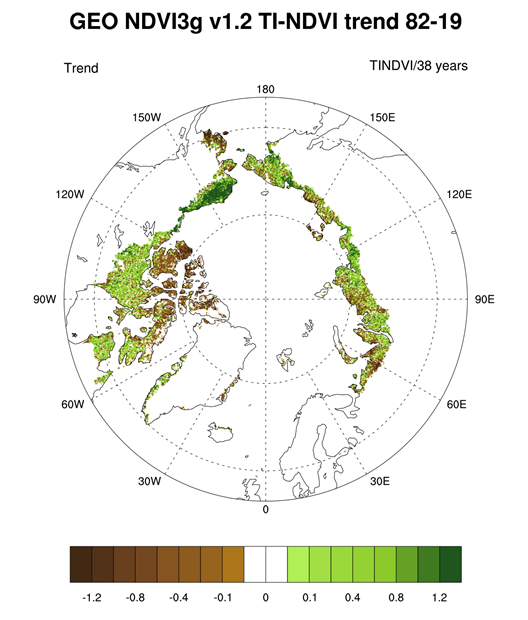 Map of the magnitude of the overall trend in TI-NDVI