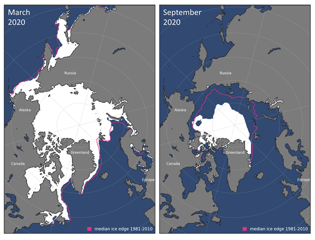 Monthly average sea ice extent map