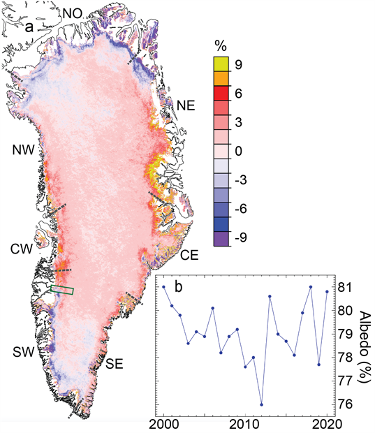 Albedo anomaly map and Time series for summer albedo
