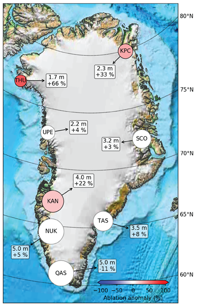 Map of net ablation in 2020 measured by PROMICE weather stations along the Greenland Ice Sheet margin,