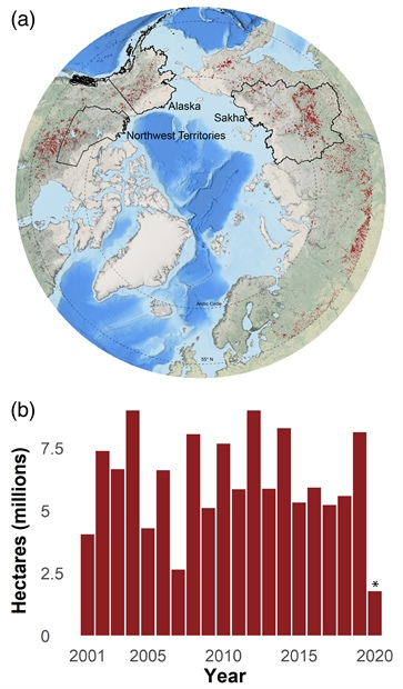 Map and graph of geographic extent and time series of annual cumulative end-of-season burned area
