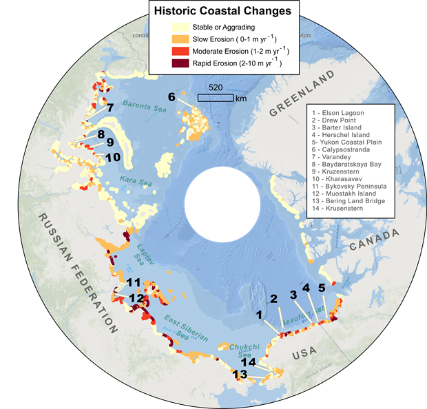 Map of historic decadal-scale coastal change observations for permafrost coasts in the Arctic